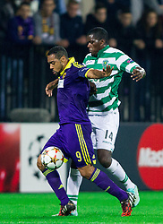 Marcos Tavares of Maribor vs William Carvalho of Sporting during football match between NK Maribor and Sporting Lisbon (POR) in Group G of Group Stage of UEFA Champions League 2014/15, on September 17, 2014 in Stadium Ljudski vrt, Maribor, Slovenia. Photo by Vid Ponikvar  / Sportida.com