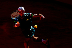 May 5, 2018 - Estoril, Portugal - Joao Sousa of Portugal returns a ball to Stefanos Tsitsipas of Greece during the Millennium Estoril Open ATP 250 tennis tournament semifinal, at the Clube de Tenis do Estoril in Estoril, Portugal on May 5, 2018. (Credit Image: © Pedro Fiuza via ZUMA Wire)
