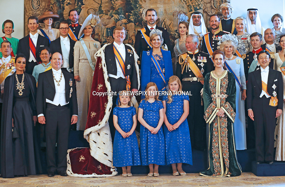 "30.04.2013; Amsterdam: KING WILLEM-ALEXANDER AND QUEEN MAXIMA.King Willem-Alexander and Queen Maxima pose for a group photograph with guests following the inauguration of King Willem-Alexander, at the Royal Palace in Amsterdam, The Netherlands.Mandatory Credit Photos: ©Lampen/NEWSPIX INTERNATIONAL..**ALL FEES PAYABLE TO: ""NEWSPIX INTERNATIONAL""**..PHOTO CREDIT MANDATORY!!: NEWSPIX INTERNATIONAL(Failure to credit will incur a surcharge of 100% of reproduction fees)..IMMEDIATE CONFIRMATION OF USAGE REQUIRED:.Newspix International, 31 Chinnery Hill, Bishop's Stortford, ENGLAND CM23 3PS.Tel:+441279 324672  ; Fax: +441279656877.Mobile:  0777568 1153.e-mail: info@newspixinternational.co.uk"