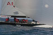 France's Areva Challenge races downwind under spinnaker on last leg of course during America's Cup fleet race; Valencia, Spain.