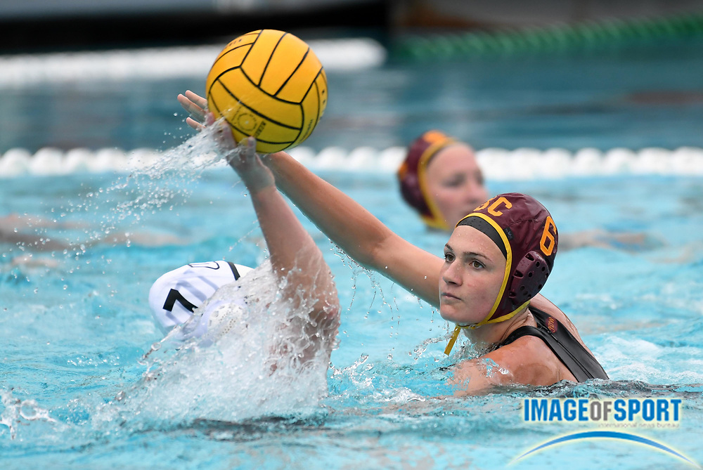 Southern California Trojans utility player Maud Megens (6) defends against Wagner Seahawks attacker Erica Hardy (7) during an NCAA college women's water polo quarterfinal game in Los Angeles, Friday, May 11, 2018. USC defeated Wagner 12-5.  (Kirby Lee via AP)