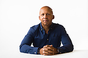 MONTGOMERY, AL – JANUARY 7, 2019: Bryan Stevenson, founder and Executive Director of the Equal Justice Initiative, poses for a portrait on a white backdrop.