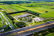 Nederland, Utrecht, Breukelen, 15-07-2012; verzorgingsplaats Haarrijn langs de nieuwe en verbreedde A2. Shell tankstation...Shell service station along the roadway A2 in between Utrecht and Amsterdam..luchtfoto (toeslag), aerial photo (additional fee required).foto/photo Siebe Swart