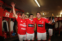 20100509: LISBON, PORTUGAL - SL Benfica vs Rio Ave: Portuguese League 2009/2010, 30th round. Players celebrations in the locker room. In picture: Maxi Pereira, Javier Saviola and Javi Garcia. PHOTO: CITYFILES