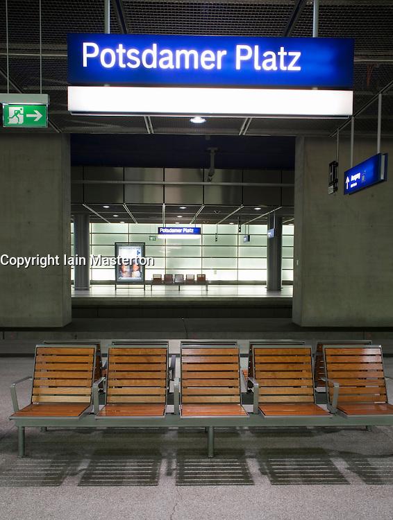 Seating on platform at Potsdamer Platz railway station Berlin 2009