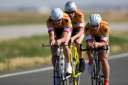 The Midwestern State University team of Collin Davis, Francis Hamre, Jason Short, and Kennard Trant competes in the men's division 1 race.  The 2008 USA Cycling Collegiate National Championships Team Time Trial event was held near Wellington, CO on May 9, 2008.  Teams of 3 or 4 riders raced over a 20km out and back course that ran along a service road to Interstate 25.