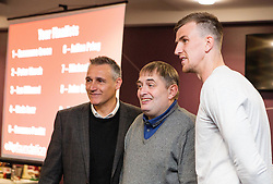 Bristol City Assistant Manager John Pemberton and Aden Flint of Bristol City pose for pictures with fans - Mandatory byline: Robbie Stephenson/JMP - 26/04/2016 - FOOTBALL - Ashton Gate - Bristol, England - Players Q&A