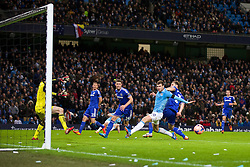 15.02.2014, Etihad Stadion, Manchester, ESP, FA Cup, Manchester City vs FC Chelsea, Achtelfinale, im Bild Manchester City's m1¬ß0\ misses, chance against Chelsea // during the English FA Cup Round of last 16 Match between Manchester City and FC Chelsea at the Etihad Stadion in Manchester, Great Britain on 2014/02/15. EXPA Pictures © 2014, PhotoCredit: EXPA/ Propagandaphoto/ David Rawcliffe<br /> <br /> *****ATTENTION - OUT of ENG, GBR*****