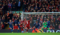 LIVERPOOL, ENGLAND - Wednesday, October 24, 2018: Liverpool's Roberto Firmino scores the first goal during the UEFA Champions League Group C match between Liverpool FC and FK Crvena zvezda (Red Star Belgrade) at Anfield. (Pic by David Rawcliffe/Propaganda)