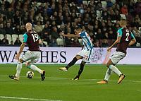 Football - 2017 / 2018 Premier League - West Ham United Vs Huddersfield Town<br /> <br /> Tom Ince (Huddersfield Town) sees his last minute effort blocked by James Collins (West Ham United)  at the London Stadium<br /> <br /> COLORSPORT/DANIEL BEARHAM