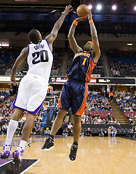 November 8, 2009; Sacramento, CA, USA;  Golden State Warriors forward Stephen Jackson (1) shoots over Sacramento Kings forward Donte Greene (20) during the first quarter at the ARCO Arena. The Kings defeated the Warriors 120-107.