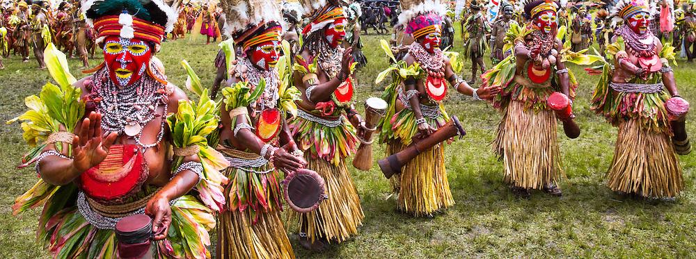 Tribal group dancing at the Goroka festival in Papua New Guinea.