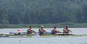 Varese, ITALY.  GBR BM4+, [Bow. Sybren HOOGLAN, Tim GRANT, Will WARR, Callum MCBRIERTY. Cox Harry BRIGHTMORE]   FISA U23 World Championships. Held on Lake Varese  15:26:57  Wednesday  23/07/2014  [Mandatory Credit; Peter Spurrier/Intersport-images] 2014. Empacher. Varese.