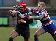 Connor Wilson (L) of Normanton Knights on the attack against  Rochdale Hornets during the Ladbrokes Challenge Cup match at The LD Nutrition Stadium,Post Office Road, Featherstone<br /> Picture by Stephen Gaunt/Focus Images Ltd +447904833202 <br /> 17/03/2018