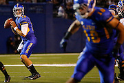 San Jose State Spartans quarterback DAVID FALES (10) looks down the field for an open receiver during the season opener against the Sacramento State Hornets at San Jose State University's Spartan Stadium in San Jose, California, on August 29, 2013. The San Jose State Spartans beat the Sacramento State Hornets 24-0. (Stan Olszewski/ZUMA Press)