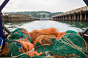 Fishing nets on the back of a boat as it leaves Dover harbour, ready for a night out trawler fishing in the English channel. United Kingdom. (photo by Andrew Aitchison / In pictures via Getty Images)