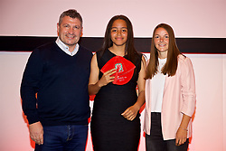 NEWPORT, WALES - Saturday, May 19, 2018: Ella Hilliard is presented with her Under-16's cap by Osian Roberts (left) and Lauren Dykes (right) during the Football Association of Wales Under-16's Caps Presentation at the Celtic Manor Resort. (Pic by David Rawcliffe/Propaganda)