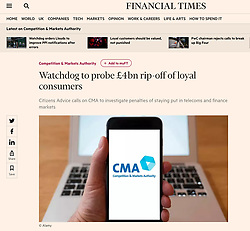 The Financial Times; CMA logo on phone