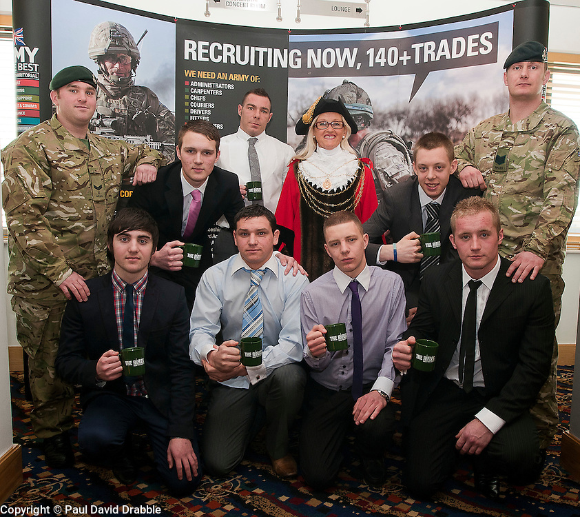 The Civic Mayor of Doncaster Eva Hughes meets New recruits for the Rifles front row left to right, Kurt Mitchell, Josh Lucas, Nathan Clark and James Mawson, Behind left to right Josh Hatton Andy Ross and Adam Hudson with L/cpl Lemasurirer and Sgt Whyte of 4 Rifles ..www.pauldaviddrabble.co.uk..1st February 2012 -  Image © Paul David Drabble