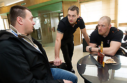 Uros Serbec talks to Luka and his brother Miha Zvizej of Slovenia Men Handball team during 3rd day of 10th EHF European Handball Championship Serbia 2012, on January 17, 2012 in Hotel Srbija, Vrsac, Serbia.  (Photo By Vid Ponikvar / Sportida.com)