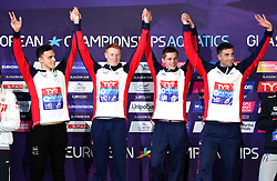 Great Britain's James Guy, Calum Jarvis, Duncan Scott and Thomas Dean with their gold medals after winning the Men's 4 x 200m Freestyle Relay Final during day four of the 2018 European Championships at the Tollcross International Swimming Centre, Glasgow. PRESS ASSOCIATION Photo. Picture date: Sunday August 5, 2018. See PA story SWIMMING European. Photo credit should read: Ian Rutherford/PA Wire. RESTRICTIONS: Editorial use only, no commercial use without prior permission