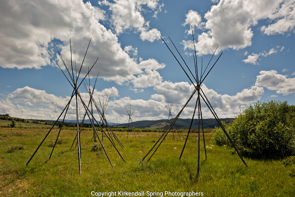MT00085-00...MONTANA - Ghost teepees, poles standing to mark the location of where people were sleeping the night of the slaughter at the Big Hole National Battlefield.