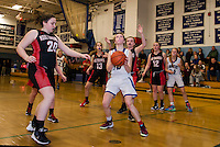Inter Lakes Emma Wheeler looks up to the basket for a shot during NHIAA Division III basketball with Moultonboro on Wednesday evening.  (Karen Bobotas/for the Laconia Daily Sun)