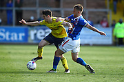 Carlisle United Defender Danny Grainger makes the vital tackle during the Sky Bet League 2 match between Carlisle United and Oxford United at Brunton Park, Carlisle, England on 30 April 2016. Photo by Craig McAllister.