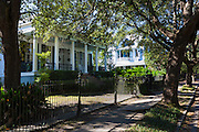 Traditional grand mansion house with wrought iron in the Garden District of New Orleans, Louisiana, USA