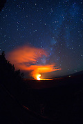 Halemaumau Crater with Milky Way, Kilauea Volcano, HVNP, Big Island of Hawaii