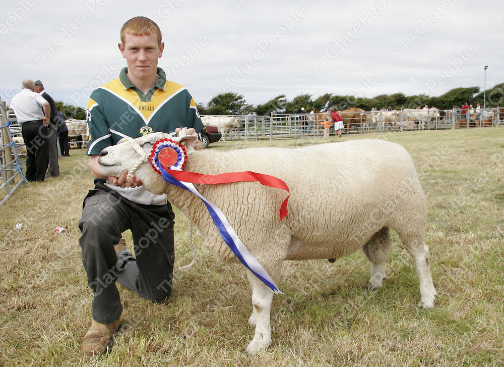 A proud Brian Howley holds up the head of his prize winning ram at the Milltown show at the weekend.<br /> <br /> Photograph by Yvonne Vaughan.