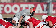 March 06, 2013: Offensive Line Coach Barney Cotton at spring practice at Hawks Championship Center.