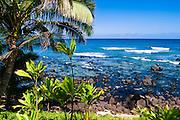 Hideaways Beach and blue Pacific waters, Island of Kauai, Hawaii