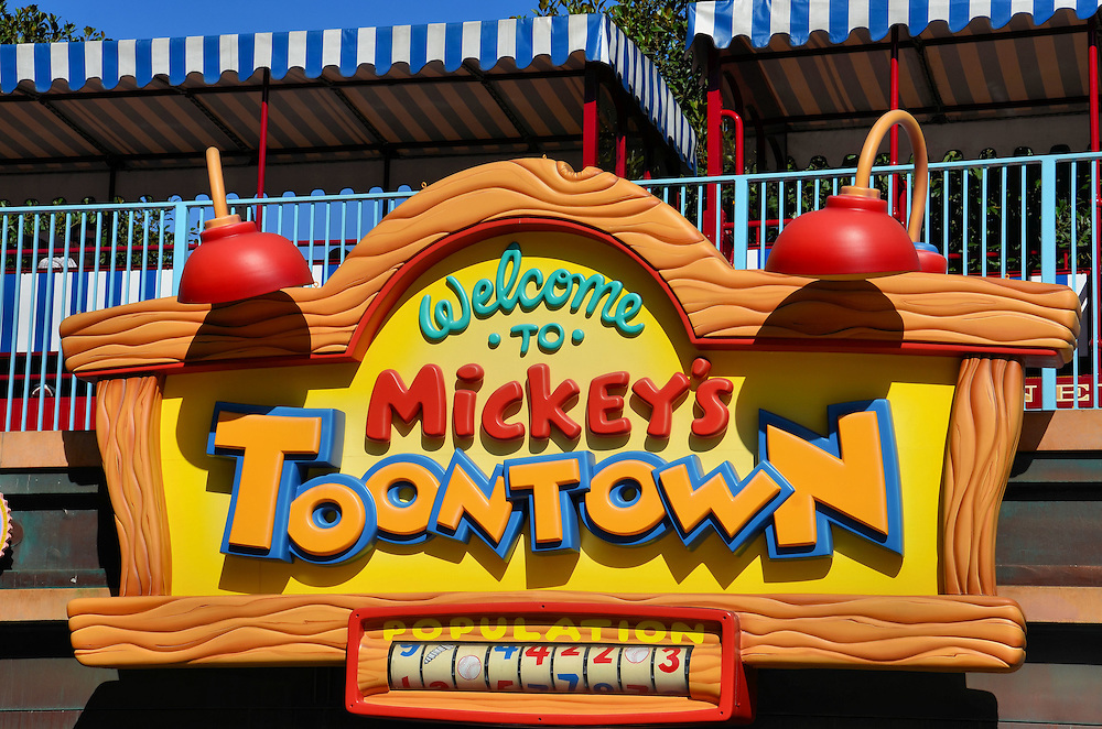 Welcome to Mickey&rsquo;s Toontown Sign at Disneyland in Anaheim, California<br /> No visit to Disneyland Park is complete unless the whole family has had a chance to shake the four-fingered, white glove of Mickey Mouse.  So, you&rsquo;ll walk (or maybe your kids will run) under this welcome sign and towards &ldquo;Mikey&rsquo;s House and Meet Mickey.&rdquo;  After taking endless photos, there are seven other attractions to enjoy at Mickey&rsquo;s Toontown.