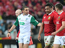 Referee Pascal Gauzere. left, warns Mako Vunipola of the Lions for a shoulder charge against New Zealand in the second International rugby test match between the the New Zealand All Blacks and British and Irish Lions at Westpac Stadium, Wellington, New Zealand, Saturday, July 01, 2017. Credit:SNPA / Ross Setford  **NO ARCHIVING""