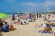 Santa Monica, CA, Holiday, Crowd, Walking, playing, Beach, Umbrellas, California, USA,