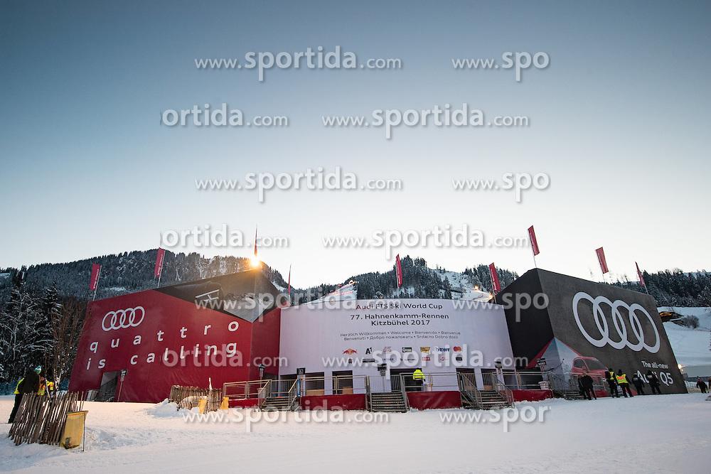 20.01.2017, Hahnenkamm, Kitzbühel, AUT, FIS Weltcup Ski Alpin, Kitzbuehel, Super G, Herren, im Bild Zielstadion der Streif // Streif Stadium during men's SuperG of FIS Ski Alpine World Cup at the Hahnenkamm in Kitzbühel, Austria on 2017/01/20. EXPA Pictures © 2017, PhotoCredit: EXPA/ Johann Groder