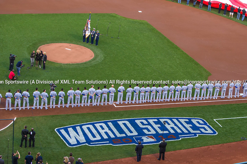 October 24, 2014: The Kansas City Royals in the lineup before game three of the World Series between the San Francisco Giants and the Kansas City Royals at AT&T Park in San Francisco, California, USA.