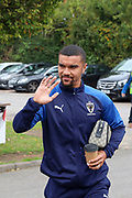 AFC Wimbledon striker Kweshi Appiah (9) waving during the EFL Sky Bet League 1 match between AFC Wimbledon and Rochdale at the Cherry Red Records Stadium, Kingston, England on 5 October 2019.