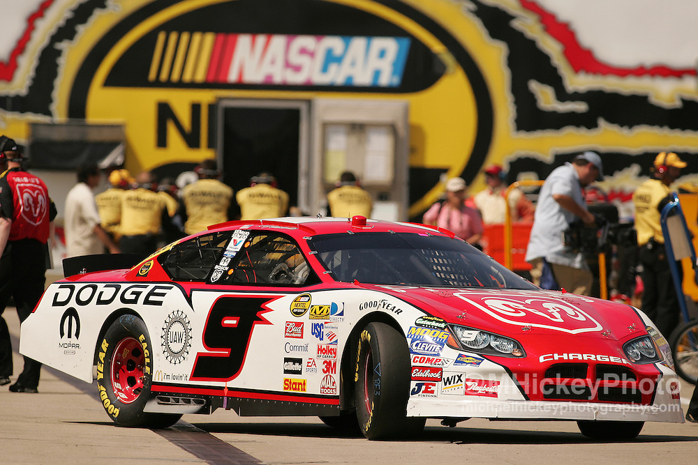 Kasey Kahne pulls out of his garage to head back out to practice for the Allstate 400 at the Brickyard Aug 5, 2006.
