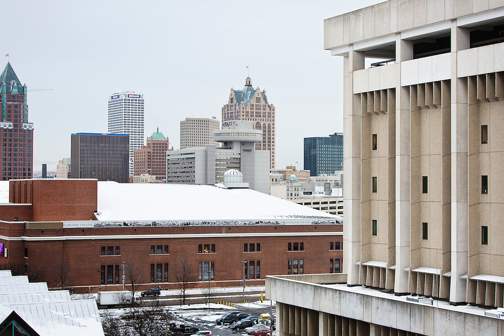 MILWAUKEE, WI – DECEMBER 16: A view of the Milwaukee County Police Administration building, right, viewed against the Milwaukee Downtown skyline on Friday, December 16, 2016.