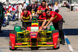 "LONG BEACH, CA - APRIL 2: Abt Schaeffler Audi Sport driver Lucas di Grassi wins the 2016 FIA Formula E Faraday Future Long Beach ePrix. ""I'm very happy to show that if you keep your focus, keep up your work, good results come,"" he said. ""From the outside races always look comfortable, this is a tricky track, it's very easy to do mistakes, it was an extremely difficult race. Stephane was quick and was putting pressure on me. It's an extremely difficult car to drive on the edge so we had no comfort in winning the race, we just had to focus on making no mistakes."" on April 2, 2016 in Long Beach, California. Byline, credit, TV usage, web usage or linkback must read SILVEXPHOTO.COM. Failure to byline correctly will incur double the agreed fee. Tel: +1 714 504 6870."