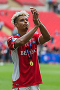 Lyle Taylor (Charlton) celebrating Charlton Athletic FC win & promotion to the Championship League following the EFL Sky Bet League 1 play off final match between Charlton Athletic and Sunderland at Wembley Stadium, London, England on 26 May 2019.