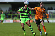 Forest Green Rovers Keanu Marsh-Brown(7) and Barnet's Harry Taylor(16) during the EFL Sky Bet League 2 match between Forest Green Rovers and Barnet at the New Lawn, Forest Green, United Kingdom on 5 August 2017. Photo by Shane Healey.