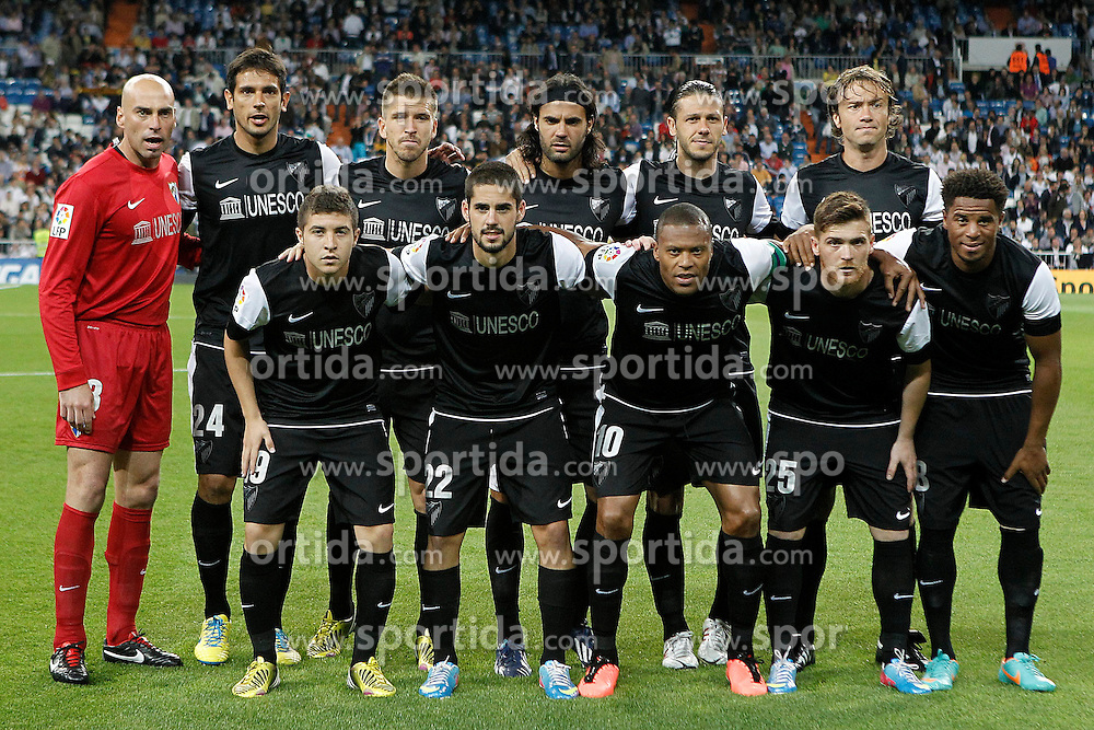 08.05.2013, Estadio Santiago Bernabeu, Madrid, ESP, Primera Division, Real Madrid vs FC Malaga, 36. Runde, im Bild Malaga's team photo with Willy Caballero, Roque Santa Cruz, Ignacio Camacho, Sergio Sanchez, Martin Gaston Demichelis, Diego Alfredo Lugano, Francisco Portillo, Isco, Julio Cesar Baptista, Vitorino Gabriel Antunes and Eliseu Pereira // during the Spanish Primera Division 36th round match between Real Madrid CF and Malaga FC at the Estadio Santiago Bernabeu, Madrid, Spain on 2013/05/08. EXPA Pictures © 2013, PhotoCredit: EXPA/ Alterphotos/ Acero..***** ATTENTION - OUT OF ESP and SUI *****