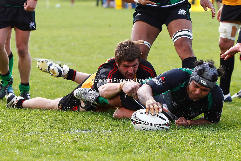 Kali Latu scores a try Heartland Championship rugby - Thames Valley v South Canterbury at Paeroa Domain, Paeroa, New Zealand on Saturday, 24 September 2011. Photo: Ella Brockelsby/photosport.co.nz