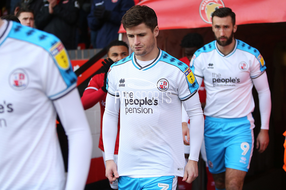 Josh Doherty walks out for the EFL Sky Bet League 2 match between Walsall and Crawley Town at the Banks's Stadium, Walsall, England on 18 January 2020.