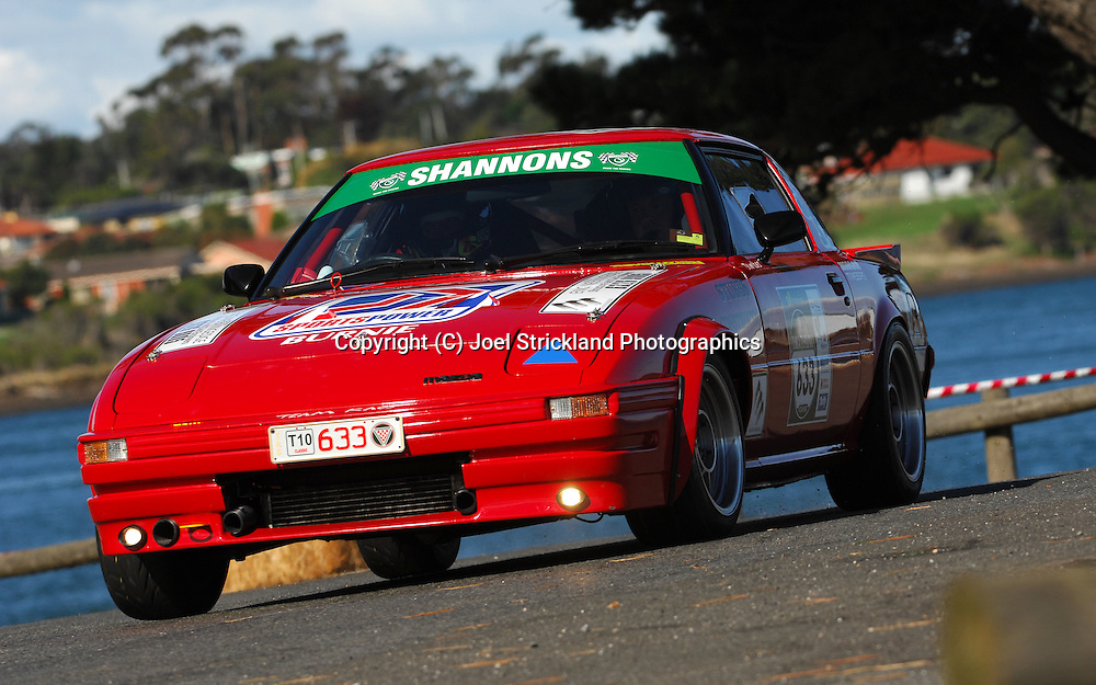 #633 - Mitch Roberts & Tony Cooper - 1979 Mazda RX7.Prologue.George Town.Targa Tasmania 2010.27th of April 2010.(C) Joel Strickland Photographics.Use information: This image is intended for Editorial use only (e.g. news or commentary, print or electronic). Any commercial or promotional use requires additional clearance.