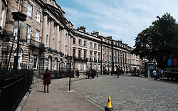 "Moray Place in Edinburgh's Georgian old town was turned into 19th century London for Julian Fellowes' new ITV show ""Belgravia"".<br /> <br /> Pictured: General view of the set<br /> <br /> Alex Todd 