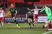 Forest Green Rovers Christian Doidge(9) celebrates Forest Green's first goal scored by Forest Green Rovers Liam Shephard(2) during the EFL Sky Bet League 2 match between Stevenage and Forest Green Rovers at the Lamex Stadium, Stevenage, England on 26 January 2019.